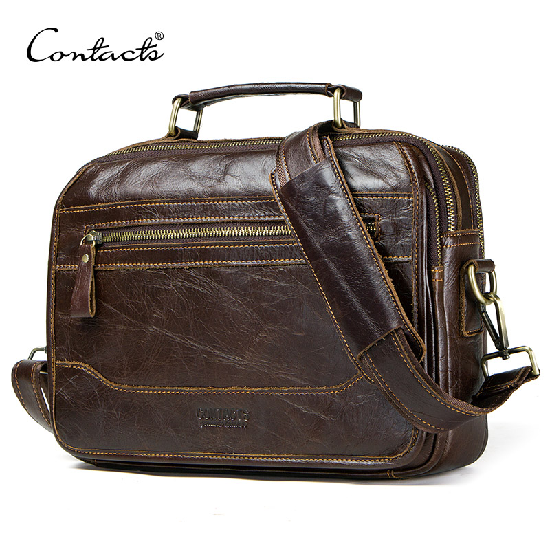 CONTACT S new oil cow leather men s messenger bag male satchel bag men crossbody bags