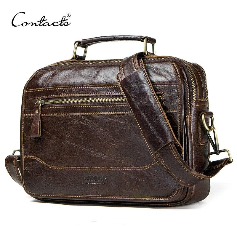 CONTACT'S Новый масло из коровьей кожи мужская сумка мужской сумка мужчины crossbody сумки masculina bolso большой повседневные сумки на плечо