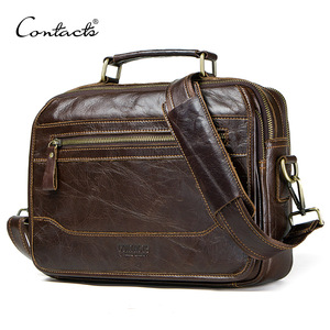 Image 1 - CONTACTS new oil cow leather mens messenger bag male satchel bag men crossbody bags masculina bolso big casual shoulder bags