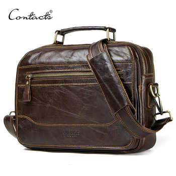 CONTACT'S new oil cow leather men's messenger bag male satchel bag men crossbody bags masculina bolso big casual shoulder bags - DISCOUNT ITEM  45% OFF All Category