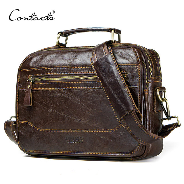 CONTACTS new oil cow leather mens messenger bag male satchel bag men crossbody bags masculina bolso big casual shoulder bags