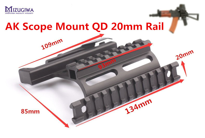 MIZUGIWA Quick Release AK 47 / 74 Picatinny Weaver 20mm Rails AK Series QD Double Side Scope Mount Hunting Caza Rifle Airsoft ohhunt hunting accessories quick release side lock scope sight laser mount w dual 7 8 picatinny rail for ak aks saiga rifle