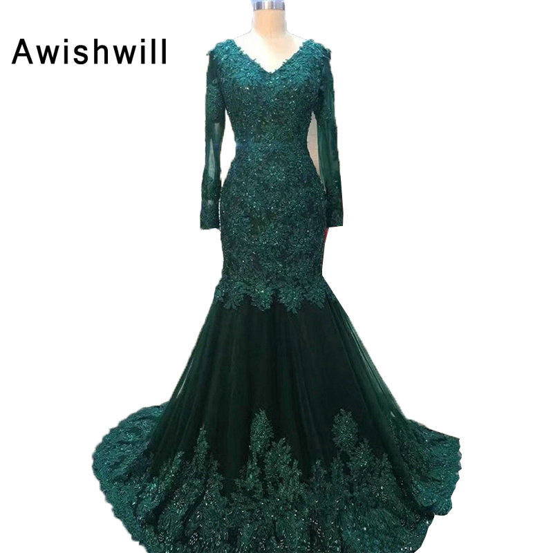 Real Pictures Emerald Green V neck Elegant Women Evening Gown Party ...