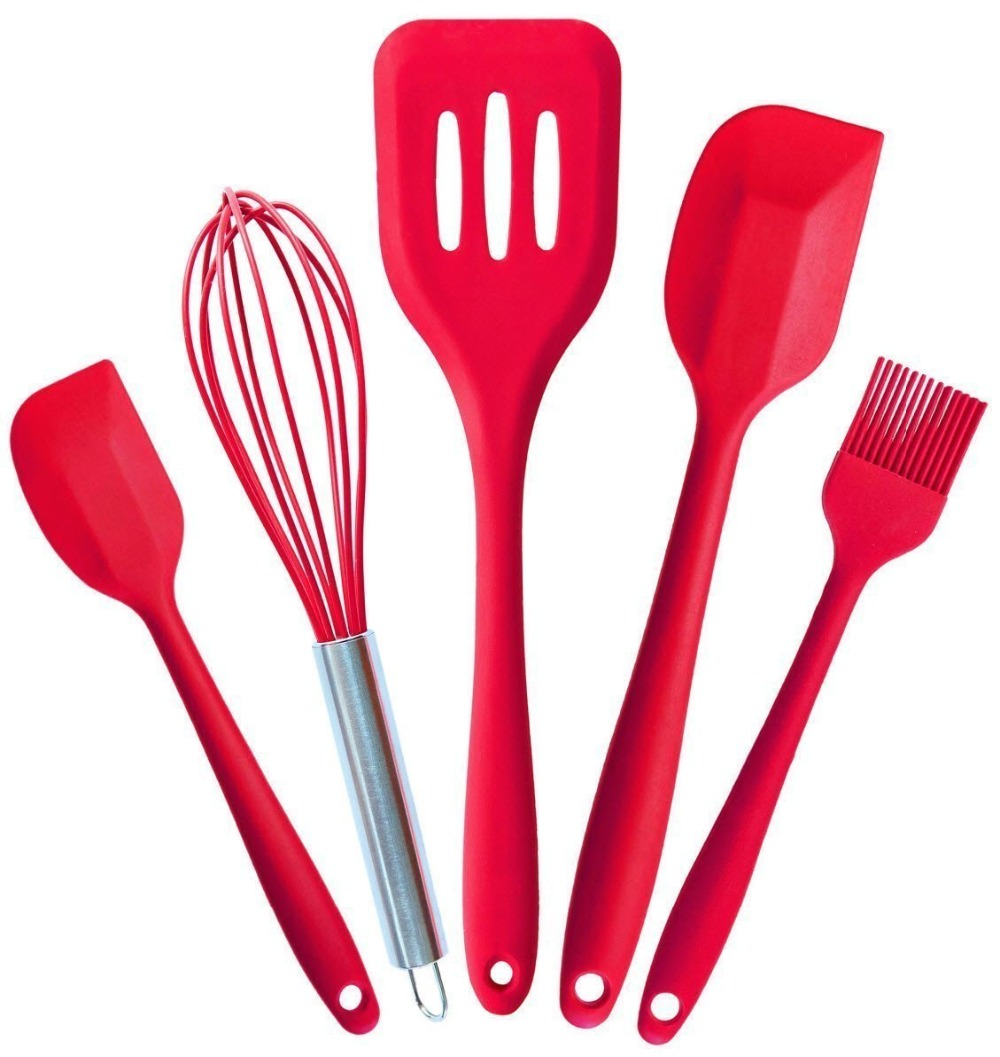 US $13.21 39% OFF|5PCS Silicone Kitchen Utensils Silicone Spatula Silicone  Cooking Utensils Set Red FDA Approved Hygienic Solid Coating-in Scrapers ...