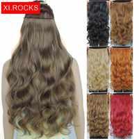 Wjj12070/1 p Xi skały kręcone włosy syntetyczne włosy doczepiane Clip in dla czarnych kobiet faliste długie klip przedłużanie włosów peruka syntetyczna