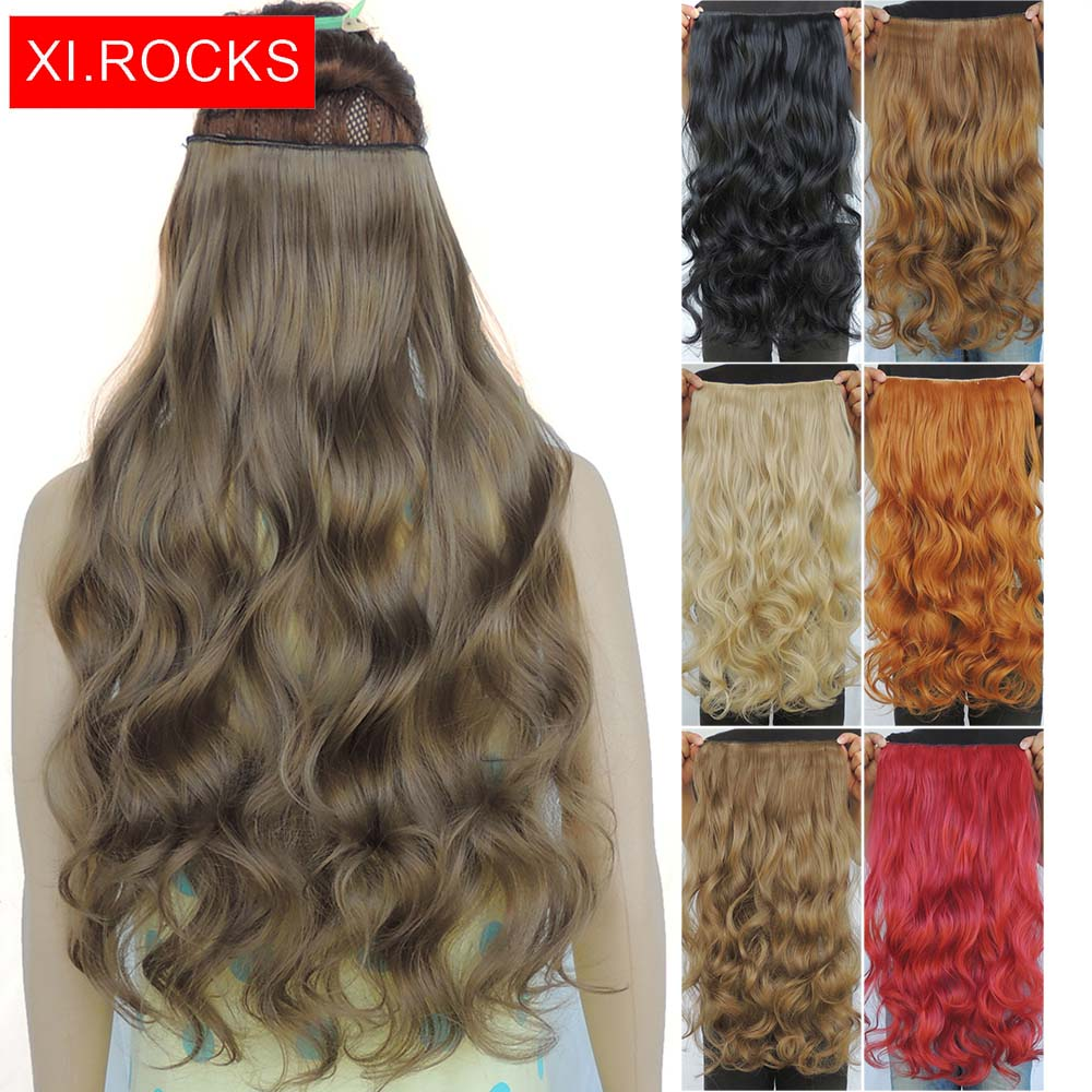 Wjj12070/1p Xi Rocks Curly Synthetic Hair Clip In Extensions For Black Women Wavy Long  Wig