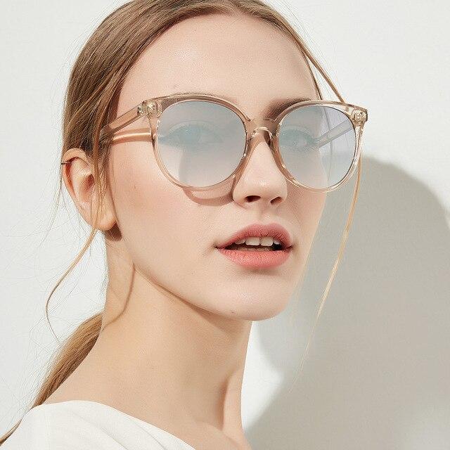 YOOSKE 90 s Rodada Óculos De Sol Das Mulheres Elegantes óculos de Sol Olhos de Gato Óculos Shades para Mulheres Das Senhoras Do Vintage Cor de Café Preto UV400