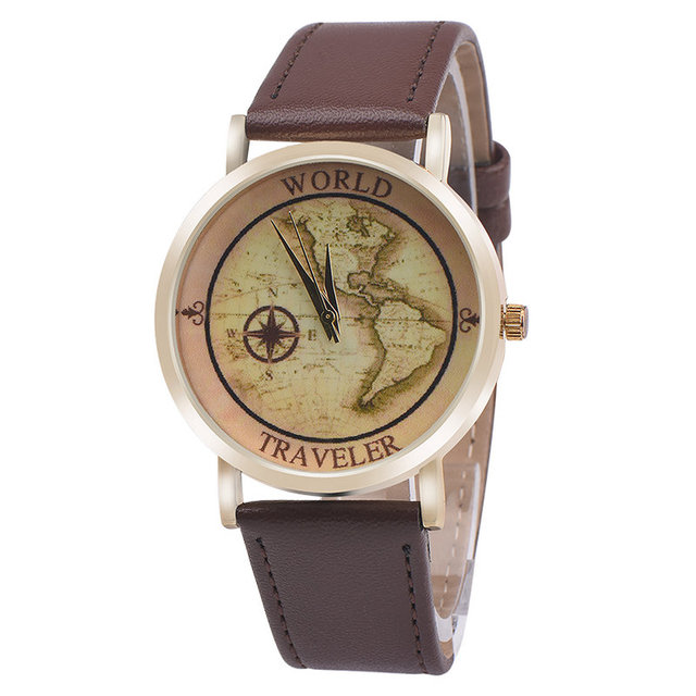 hot sale new women men earth world map watch alloy analog quartz leather wrist watches gifts