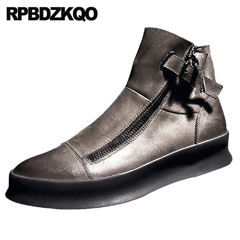 Korean British Style Zipper High Top Boots Ankle Men Sole Genuine Leather Platform Sneakers Designer Booties Thick Soled Trainer