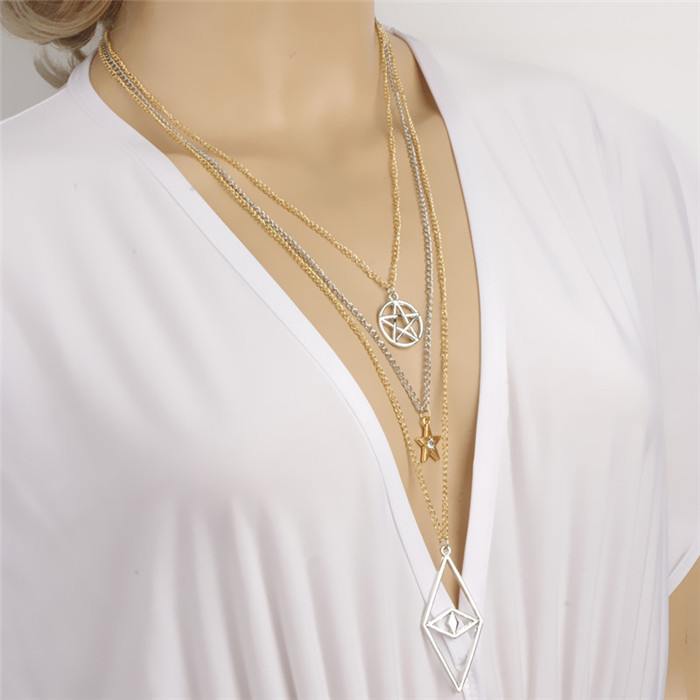 Mixing gold and silver plated pentagram star long necklaces mixing gold and silver plated pentagram star long necklaces pendants necklace women costume jewellery accessories xl072 in chain necklaces from jewelry mozeypictures Images
