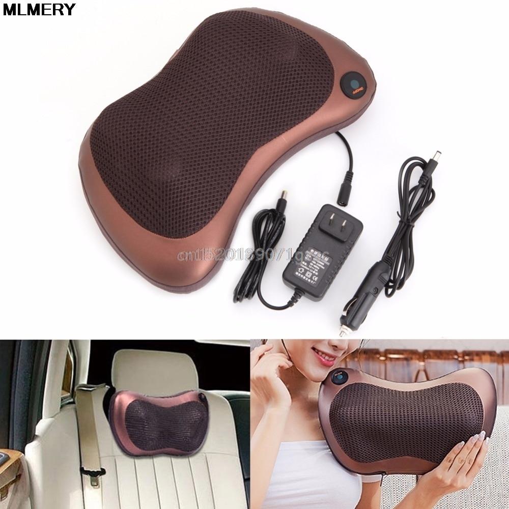 Car Electronic Massage Pillow Massager Cushion Lumbar Neck Back Shoulder Relax #H027# hot selling free shipping bone shape massage pillow relax car massage pillow