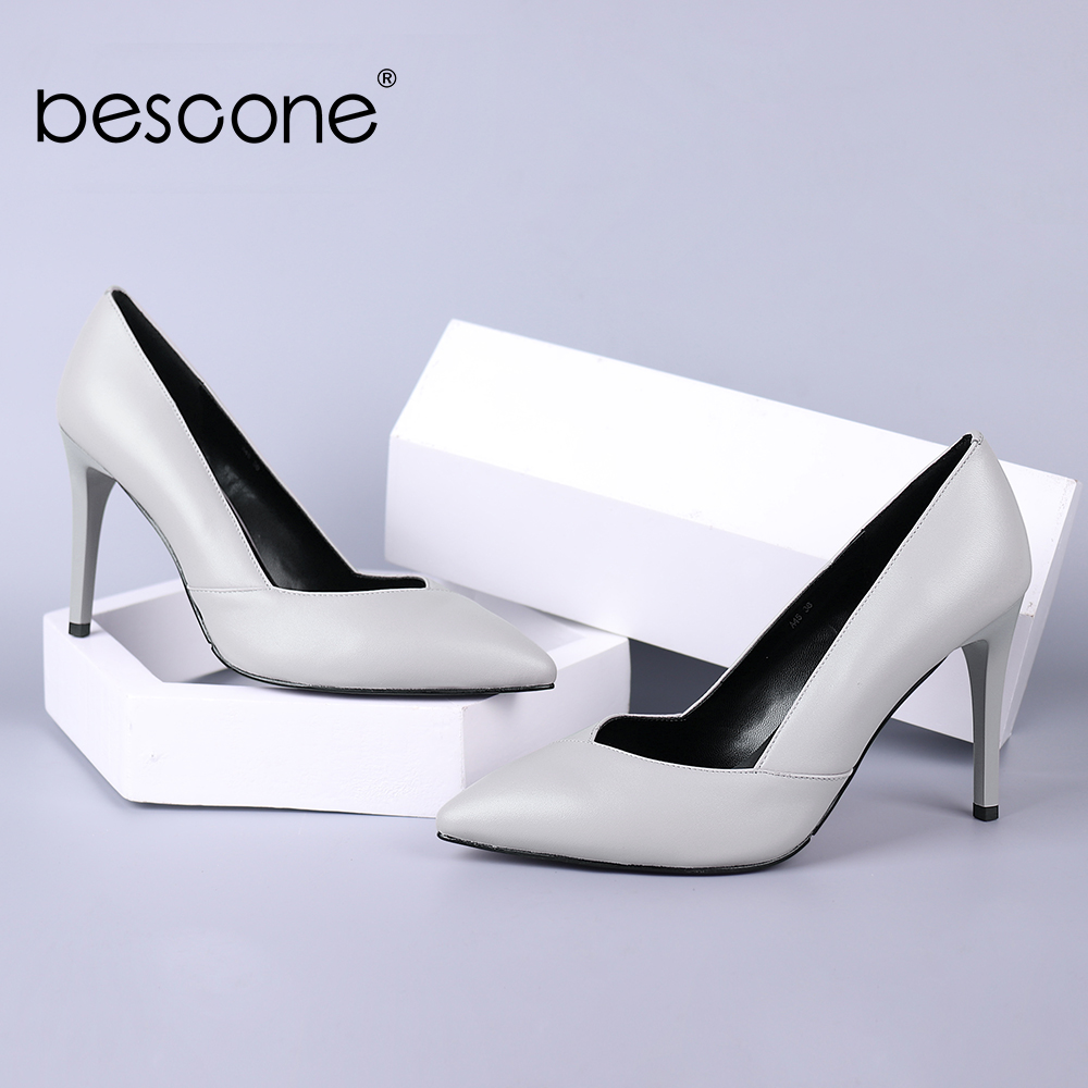BESCONE Red Wedding Pumps Hot Sale Supper High Thin Heels Pointed Toe Sexy Female Shoes Quality Genuine Leather Lady Pumps A45