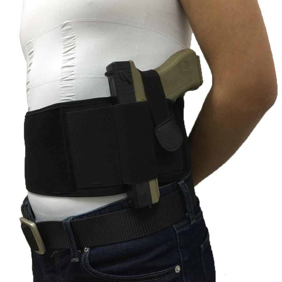 Tactical Belly Band Holster Izquierda y Derecha Portátil Oculta Pistola de la pistola de transporte Se adapta a todas las pistolas Tamaño negro para Airsoft Sport