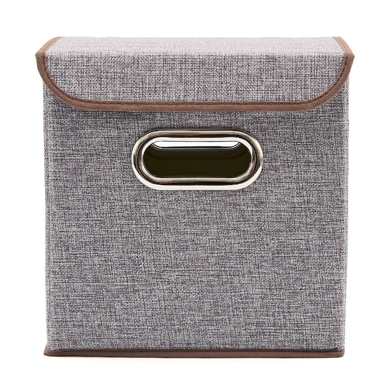 Storage Bins 4 Pack Linen Fabric Foldable Basket Cubes Organizer Bo Containers Drawers With Gray For Office Bedroom Shelf