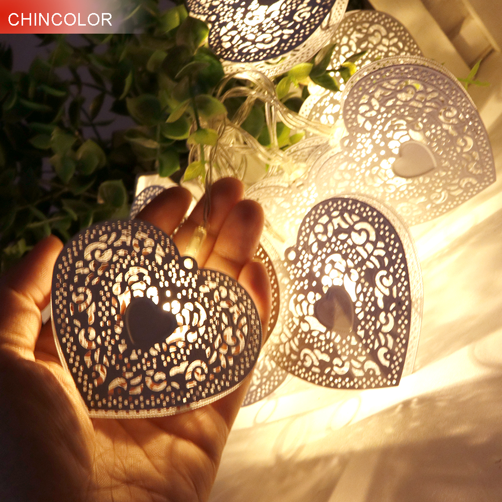 10leds Holiday Lights 6.4*7.3CM Metel Heart Fairy Led String Lights Battery Operated Christmas Wedding Girl Mirror Decoration JQ