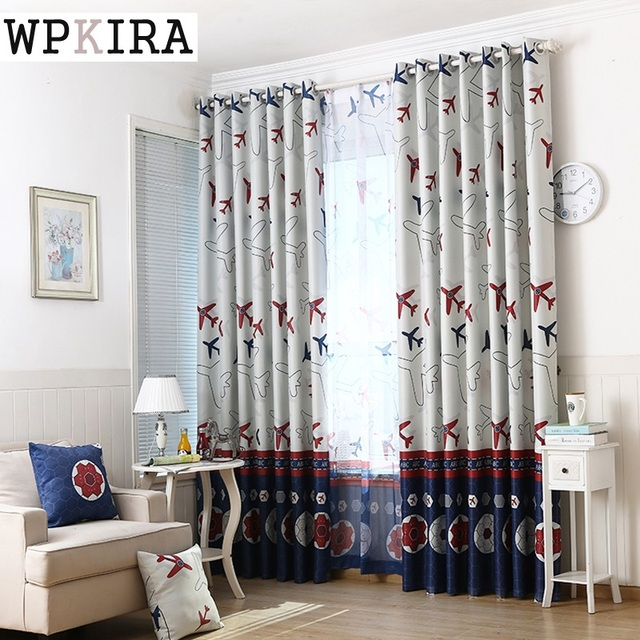 Amazing Modern Cartoon Lovely Airplane Curtain Printed Voile Window Screen Panel  Kids Boys Room Bedroom Curtains Tulle
