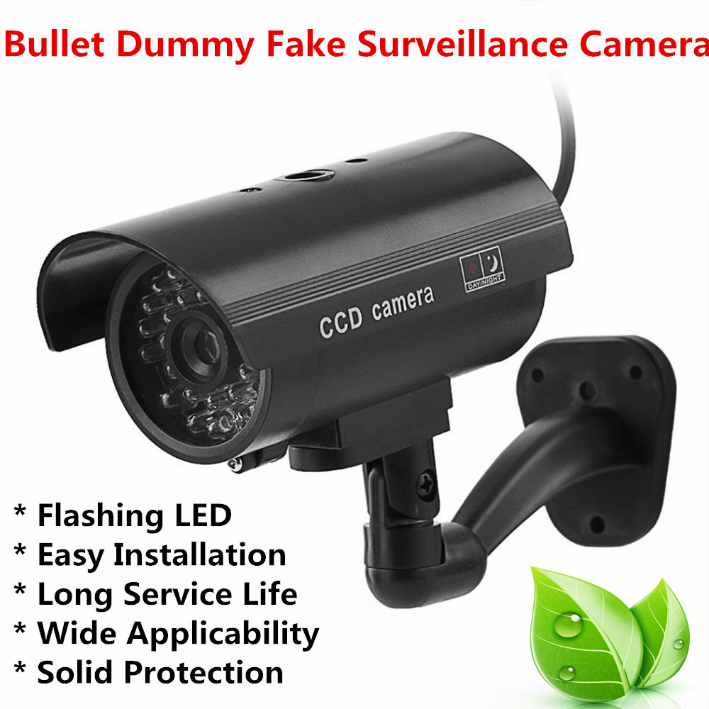 Security Camera Wall Mounted Bullet Dummy Fake Surveillance Camera Flashing LED Fake CCTV False Monitor Indoor And Outdoor waterproof dummy cctv camera with flashing led for outdoor or indoor realistic looking fake camera for security