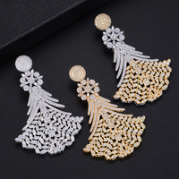 missvikki 3 Colors Bohemian Statement AAAAA Cubic Zirconia Leaves Pendant Earrings Silver Jewelry Accessories Top Quality