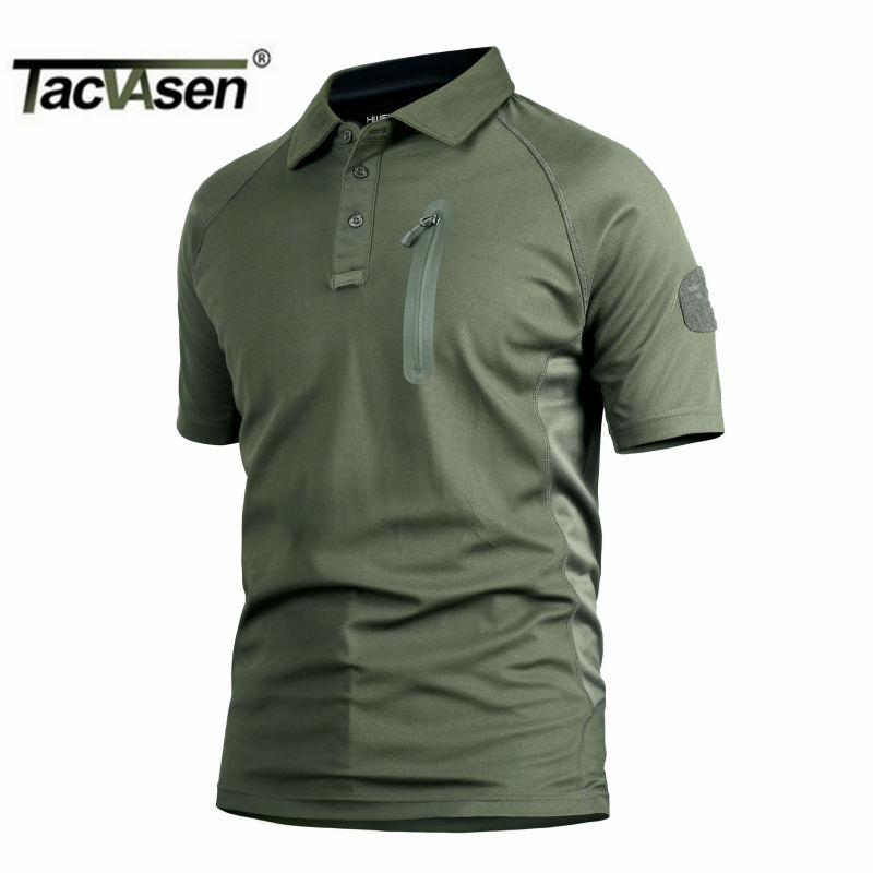 TACVASEN Tactical Men T Shirt Breathable Perspiration Combat Men Top Military Quick Drying Turn-Down Collar T-Shirts TD-YCXL-017