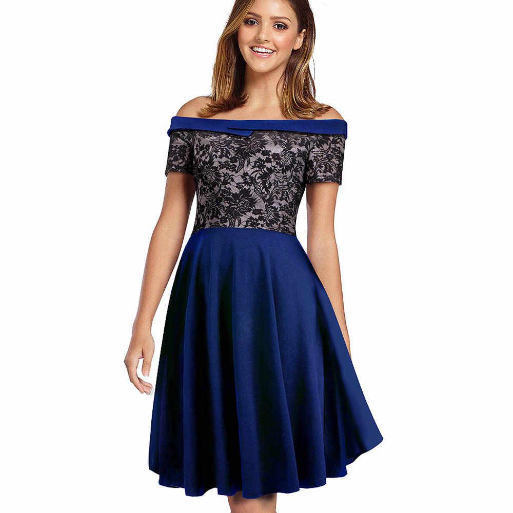 Женское платье с открытыми плечами Nice-forever, элегантное сексуальное черное трапециевидное платье с цветочным кружевом, пестрое, в стиле кэжуал, модель A051, 2019
