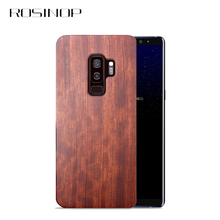 ROSINOP Original Unique Wood Case For samsung galaxy S9 plus S8 Note 8 9 Nature Wooden Hard PC Cover Camera Protection