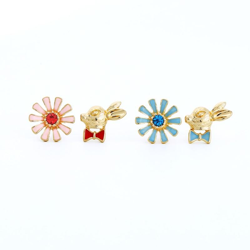 Tiny Enamel Bunny Stud Earrings