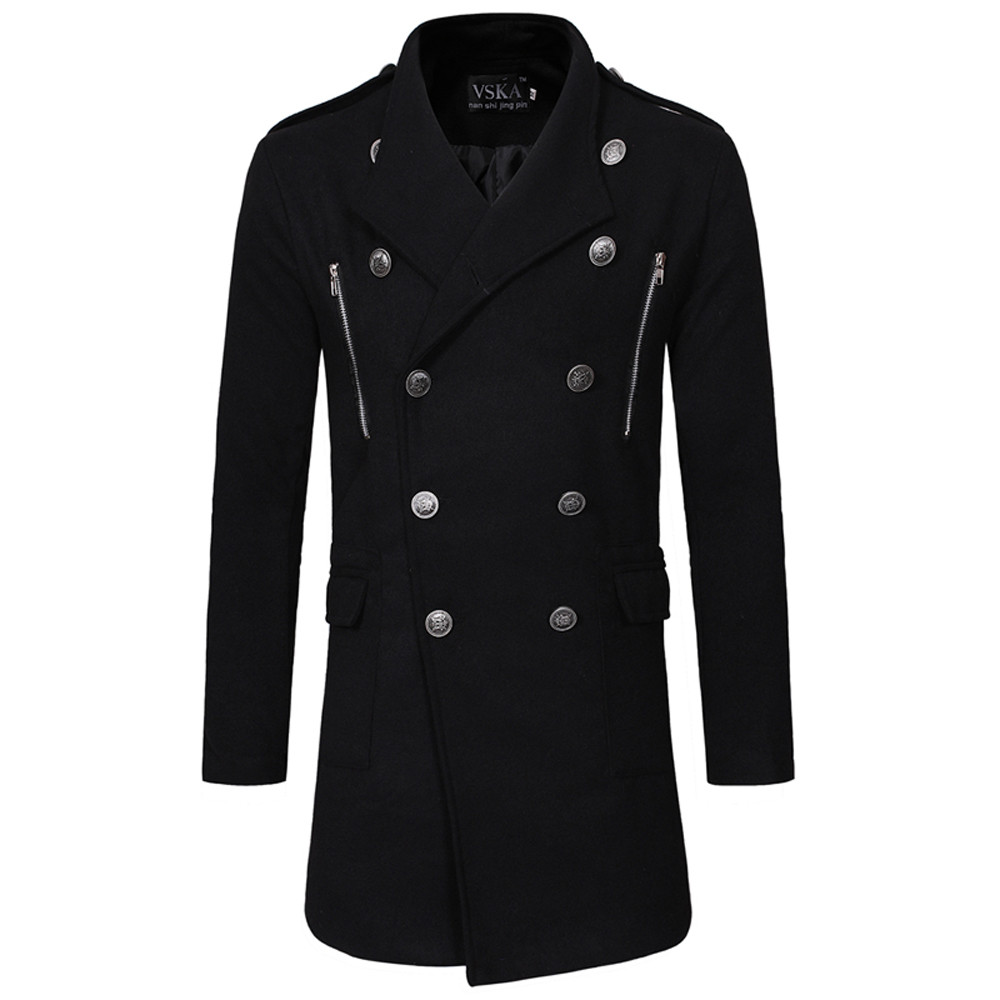 Coat Autumn Jacket Trench-Buttons Male Men's Fashion Winter Warm Slim Zipper Long