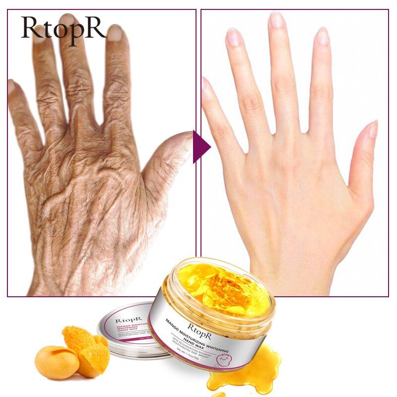 RtopR Mango Moisturizing Hand Wax Whitening Skin Hand Mask Repair Exfoliating Calluses Film Anti-Aging Hand Skin Cream 50g TSLM1