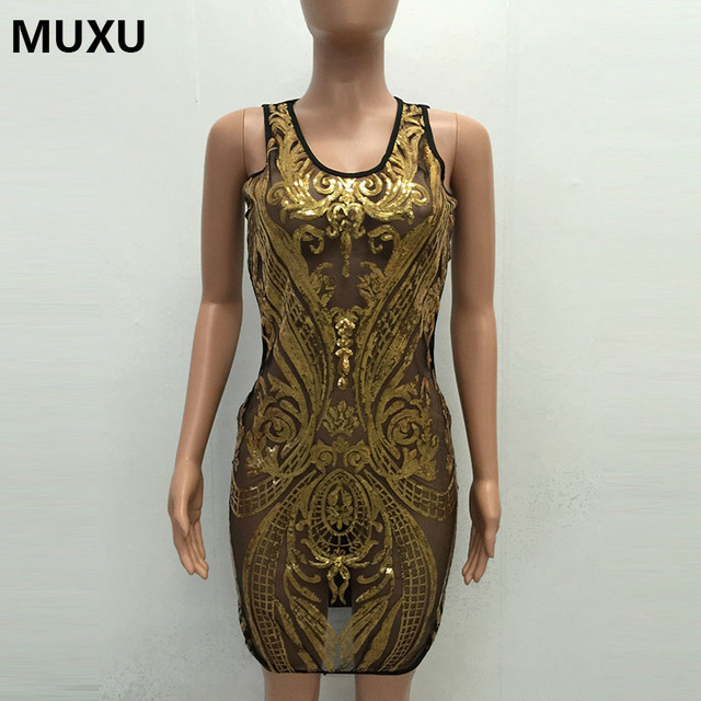 b45bba91 MUXU Sexy summer dress shoulder strap sleeveless strapless glitter dress  bandage gold sequin fashionable dresses clothes women