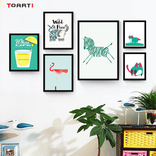Scandinavian Cartoon Animals Posters And Prints Canvas Painting Creative Art Wall Elephant Horse Flamingo Pictures Kids Room