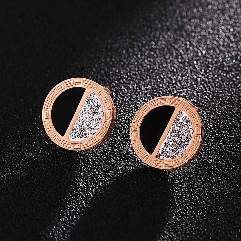 New Design Black and White Zircon Stud Earrings Handmade Rose Gold Earring Hypoallergenic Stainless Steel Studs