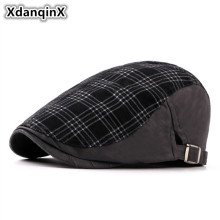 XdanqinX Mens Hat Spring Summer Retro Cotton Berets Unisex Adjustable Size Simple Vogue Brand Caps Duck Tongue Cap For Women