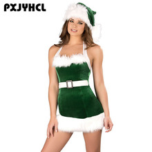 Women New Year Halloween Christmas Costume Green Sexy Dress Fancy Party Adult Elf Santa Claus Helper Cosplay Short Dresses Girl
