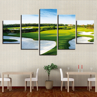 Canvas HD Prints Paintings Living Room Home Decor Framework 5 Pieces Golf Course Pictures Green Lawn Landscape Posters Wall Art