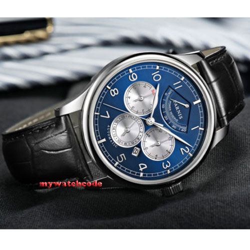 43mm Parnis Blue Dial Automatic Power Reserve automatic Business Men's Watch 505 цена