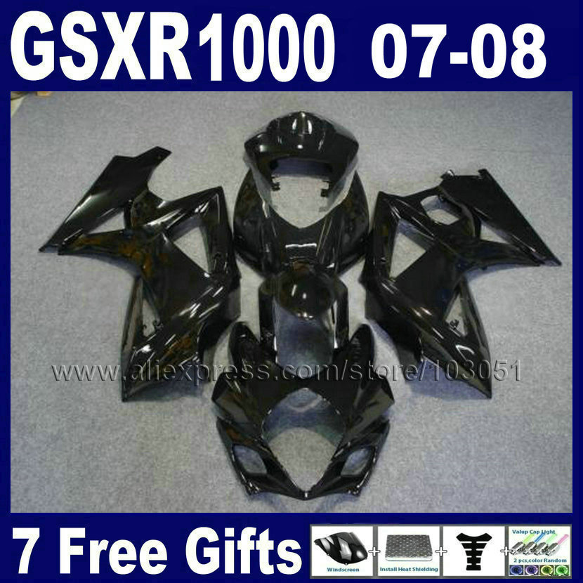 7gifts motorcycle road fairings set for <font><b>SUZUKI</b></font> 2007 2008 GSXR1000 <font><b>GSXR</b></font> <font><b>1000</b></font> GSX 07 08 R1000 K7 <font><b>K8</b></font> full black fairing bodykits image