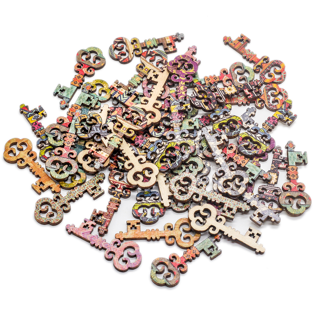 50 Pcs Vintage Pattern Wooden Print Key Button For DIY Random Wooden Buttons Sewing Scrapbooking Accessories