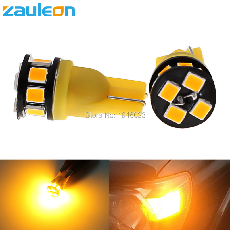 Zauleon 2pcs T10 194 W5W LED Bulbs 2835 12SMD Bright Wedge Yellow Turn signal Interior Dome Map Door License Plate Light cawanerl car canbus led package kit 2835 smd white interior dome map cargo license plate light for audi tt tts 8j 2007 2012
