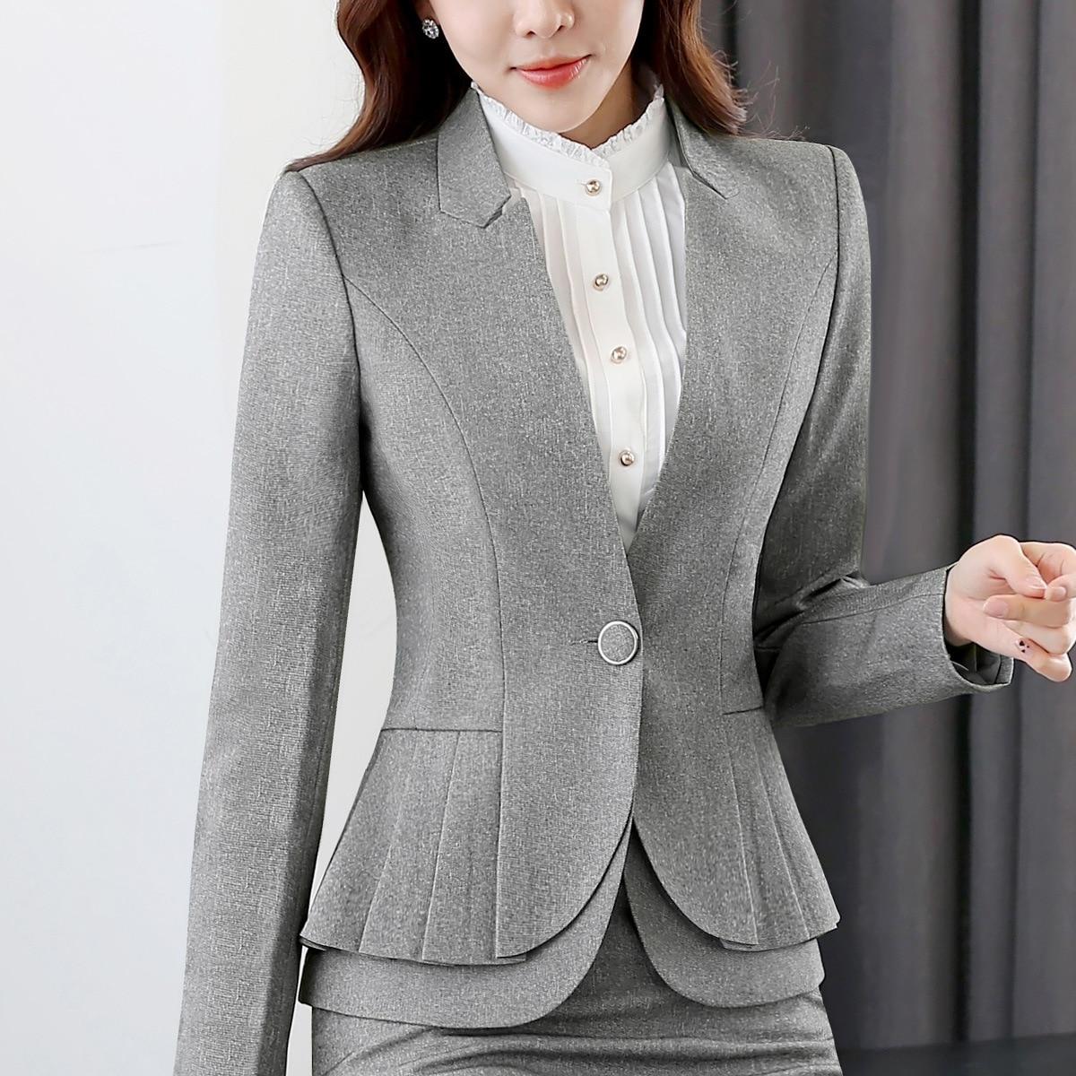 Professional Women Skirt Suits Blazers Autumn Business Ladies Office Work Wear White collar (jacket/Skirt /shirt / pants) - 4