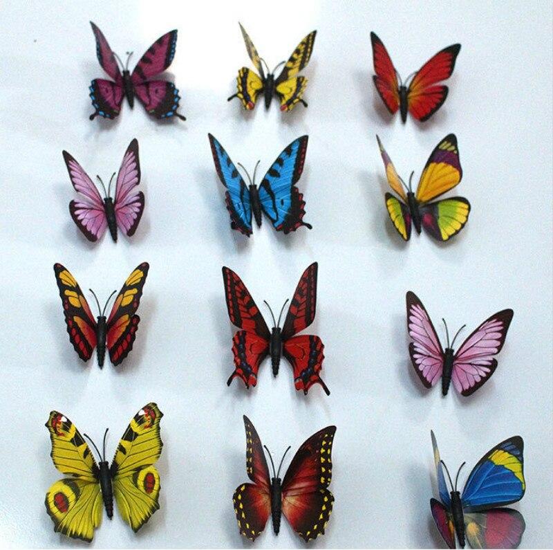 100 Stks/partij Simulatie Vlinder 9 Cm Pvc Home Decoratie Buterfly Muurstickers Thuis Sticker Magneet Ambachten Vakantie Decoratie