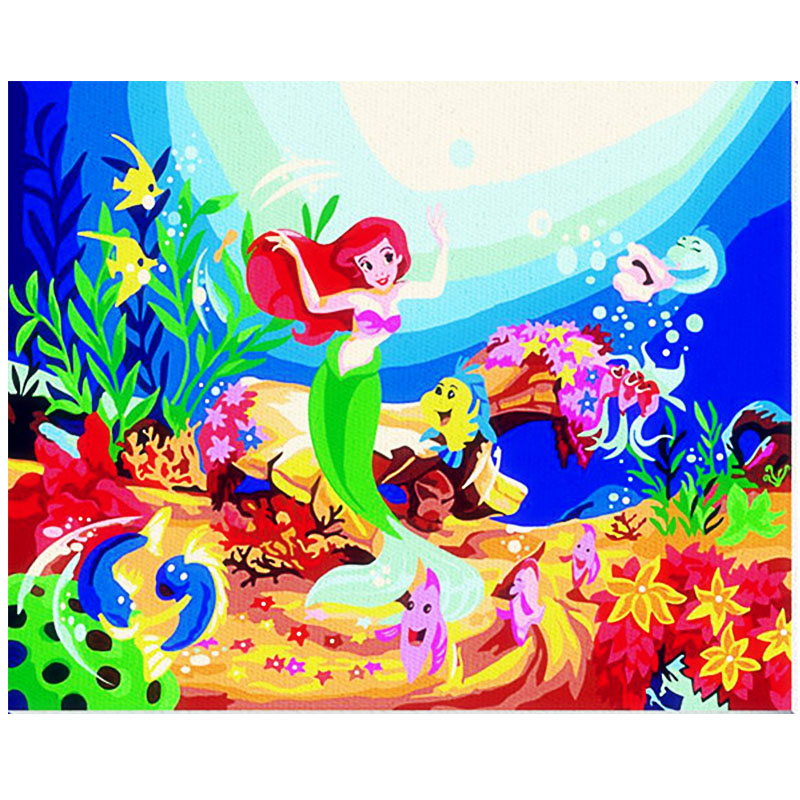 Y10 Mermaid Prin DIY Oil Painting by Numbers with Paint & Brush Children Hand-Painted Template Creative Number oil Painting