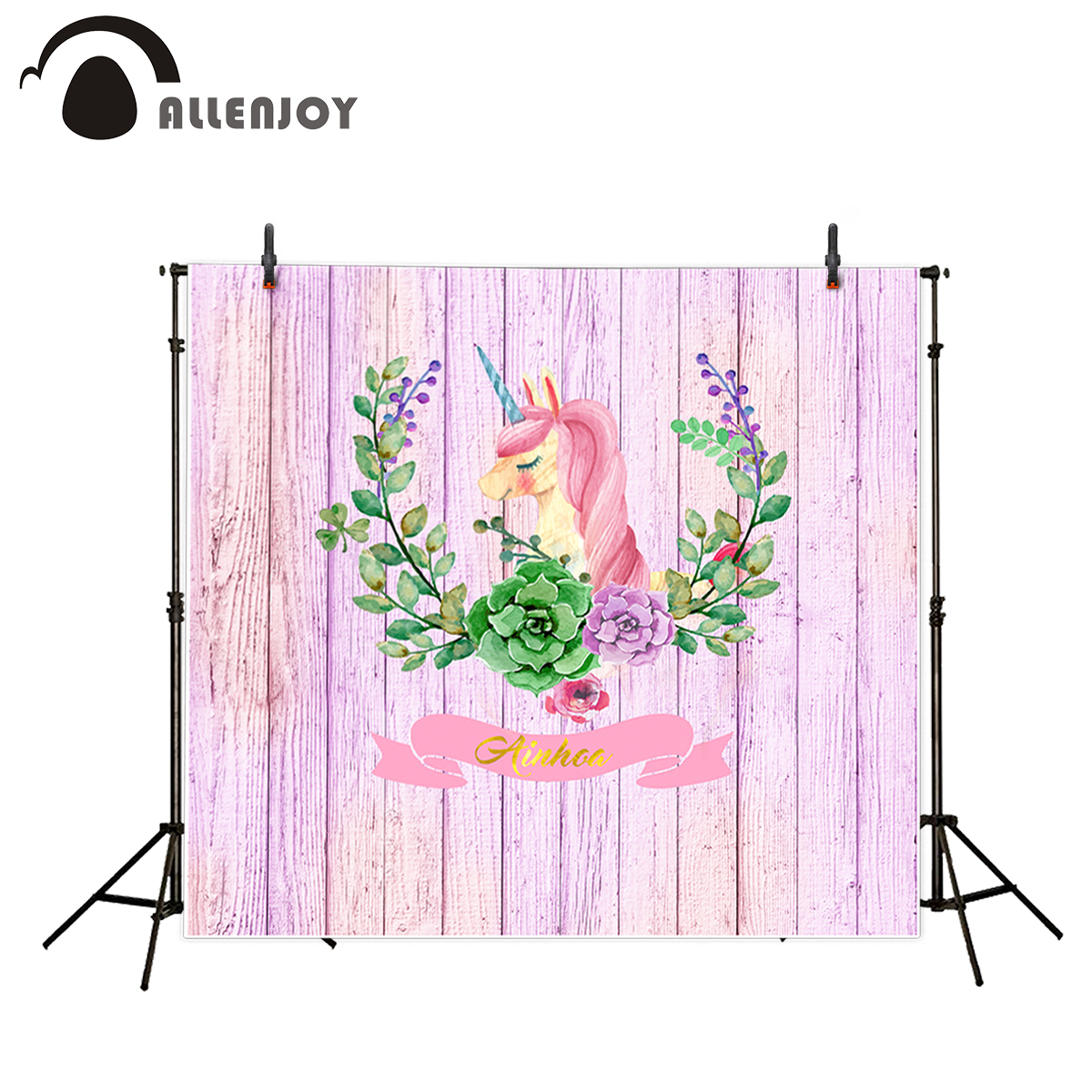Allenjoy photography background Purple Wooden Wreaths Unicorn Golden Birthday backdrop newborn photo studio camera fotografica недорого