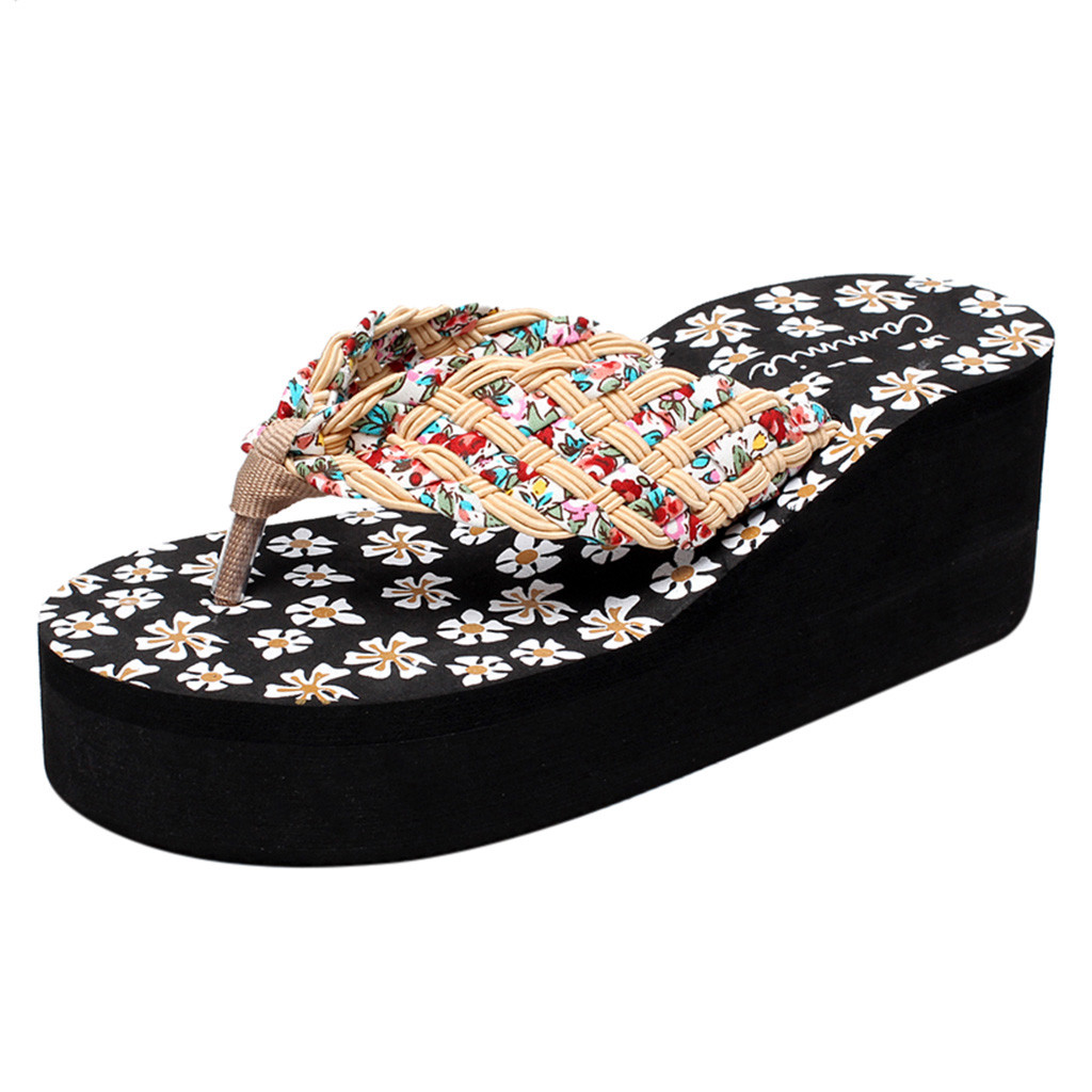 Women Ladies Girls Wedges Floral Flip Flops Sandal Slippers Beach Shoe Thick Soled Wear Resistant Platform Sandals Outdoor Mar 3Women Ladies Girls Wedges Floral Flip Flops Sandal Slippers Beach Shoe Thick Soled Wear Resistant Platform Sandals Outdoor Mar 3