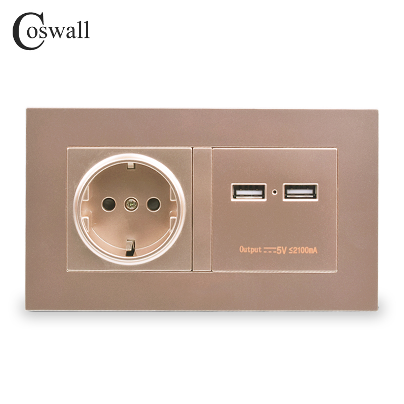 COSWALL Gold Wall Socket 16A EU Standard Power Outlet With Dual USB Smart Charger Port For Mobile 5V 2100mA Output PC Panel coswall wall socket uk standard power outlet switched with dual usb charge port for mobile 5v 2 1a output stainless steel panel