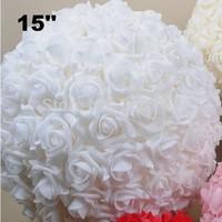 15 ''38 cm Espuma Kissing Rose Bola de La Flor Artificial Flores Decorativas de La Boda Pieza Central de Espuma Rosa Bola de La Flor * Envío gratis *