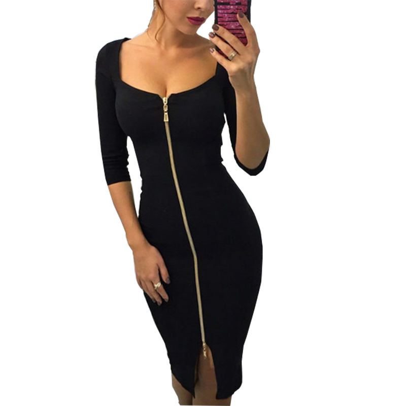 <font><b>Women</b></font> <font><b>Sexy</b></font> <font><b>Bodycon</b></font> Dress Zipper <font><b>2018</b></font> <font><b>Autumn</b></font> Winter Dresses Solid Fit <font><b>Elegant</b></font> Skinny Ladies <font><b>Fashion</b></font> Party Dress Plus Size GV268 image
