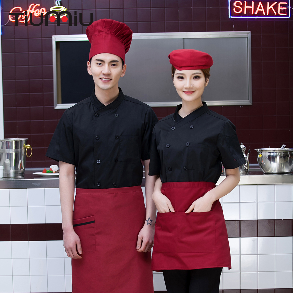 New Chef Jackets 2018 Summer Wholesale Women Men Short-sleeve Double Breasted Restaurant Kitchen Bakery Coffee Bar Work Uniforms
