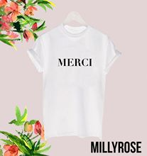 MERCI FRENCH THANK YOU MENS WOMENS SLOGAN WHITE BLACK T SHIRT TEE TSHIRT GIFTFashion Design Free Shipping  Mens Shirts