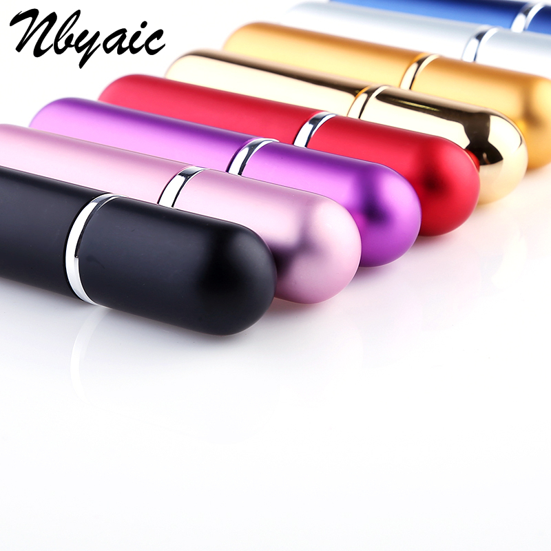 Nbyaic 100Pcs Hot Selling 5ml Refillable Portable Mini perfume bottle &Traveler Aluminum Spray Atomizer Empty Parfum bottle