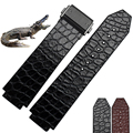 25*18mm High Quality straps Genuine Leather crocodile leather +rubber WatchBand with folding Deployment Buckle free shipping
